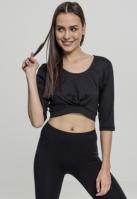 Bluza scurta Active cu maneci trei sferturi pentru Femei negru Urban Classics