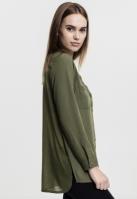 Camasa sifon cu maneca lunga si mai lunga in spate pentru Femei oliv deschis Urban Classics