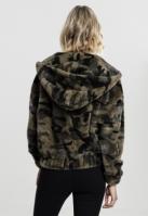 Geaca pufoasa imprimeu camuflaj pentru Femei oliv-camuflaj Urban Classics