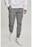 Pantaloni cargo carouri AOP alb-negru Urban Classics