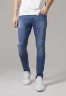 Pantaloni Skinny denim stretch cu taieturi albastru-washed Urban Classics