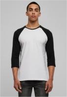Tricou contrast cu maneci trei sferturi alb-negru