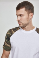 Tricouri casual in doua culori pentru barbati alb-camuflaj