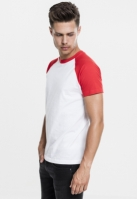 Tricouri casual in doua culori pentru barbati alb-rosu Urban Classics