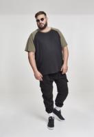 Tricouri casual in doua culori pentru barbati negru-oliv Urban Classics