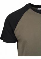 Tricouri casual in doua culori pentru barbati oliv-negru Urban Classics