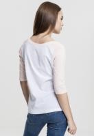 Tricouri cu maneca trei sferturi raglan alb-roz Urban Classics