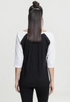 Tricouri cu maneca trei sferturi raglan negru-alb Urban Classics