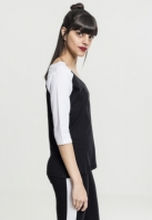 Tricouri cu maneca trei sferturi raglan negru-alb