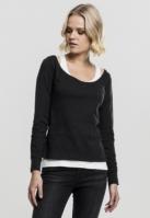 Two-Colored cu maneca lunga pentru Femei negru-alb Urban Classics
