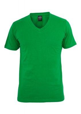 Tricou cu decolteu in V Basic verde Urban Classics