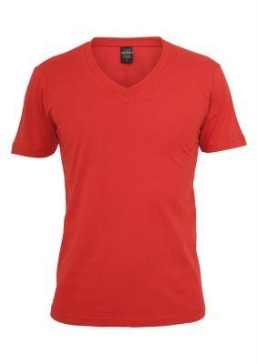 Tricou cu decolteu in V Basic rosu Urban Classics