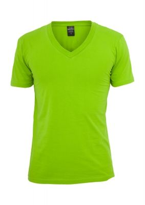 Tricou cu decolteu in V Basic verde lime Urban Classics