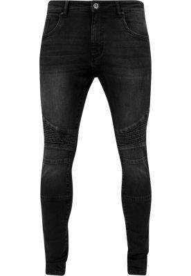 Blugi Slim Fit Biker negru-washed Urban Classics
