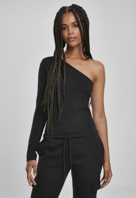 Bluza asimetrica maneca lunga pentru Femei negru Urban Classics
