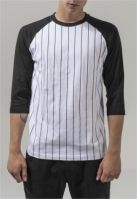 Bluza baseball contrast cu maneci trei sferturi alb-negru Urban Classics