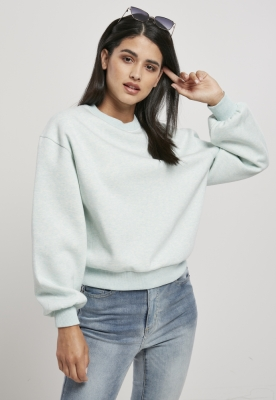 Bluza cu guler rotund supradimensionat Color pentru Femei albastru-aqua Urban Classics melange