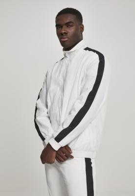 Bluza de trening cu dungi Sleeve Crinkle alb-negru Urban Classics