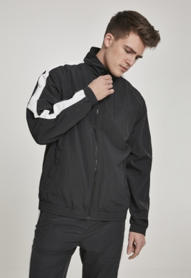 Bluza de trening cu dungi Sleeve Crinkle negru-alb Urban Classics