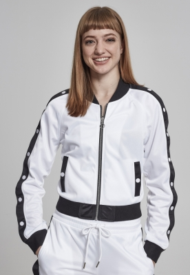 Bluza de trening cu nasturi pentru Femei alb-negru Urban Classics
