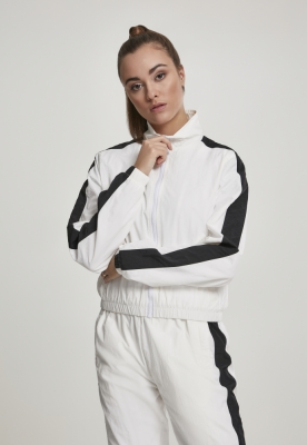 Bluza de trening Short cu dungi Crinkle pentru Femei alb-negru Urban Classics