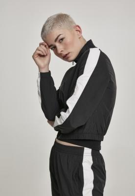 Bluza de trening Short cu dungi Crinkle pentru Femei negru-alb Urban Classics