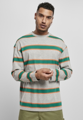 Bluza larga maneca lunga Light cu dungi gri-verde Urban Classics