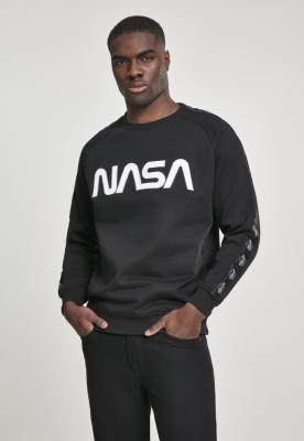 Bluza maneca lunga NASA Wormlogo Rocket Tape negru Mister Tee