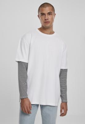 Bluza maneca lunga supradimensionat cu 2 straturi cu dungi alb Urban Classics