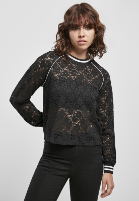 Bluza scurta dantela college pentru Femei negru Urban Classics