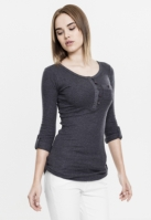 Bluze casual cu nasturi si cu buzunar la piept pentru Femei gri carbune Urban Classics