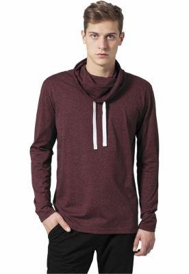 Bluze cu guler inalt cu maneca lunga negru-rosu Urban Classics