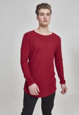 Bluze cu maneca lunga waffle rosu burgundy Urban Classics