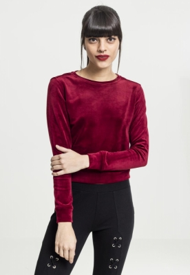 Bluze scurte tip catifea cu maneca lunga pentru Femei rosu burgundy Urban Classics