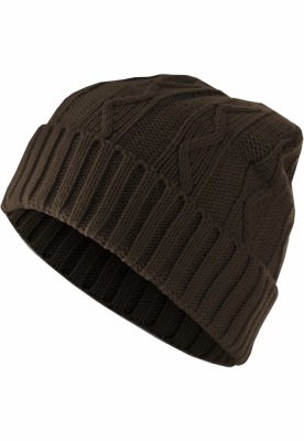 Caciula Beanie Cable Flap chocolate MasterDis