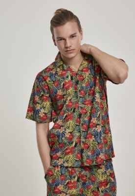Camasa casual Pattern negru-tropical Urban Classics