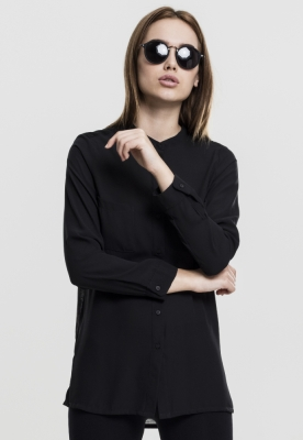Camasa sifon cu maneca lunga si mai lunga in spate pentru Femei negru Urban Classics