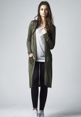 Cardigan lung Fine tricot pentru Femei oliv Urban Classics