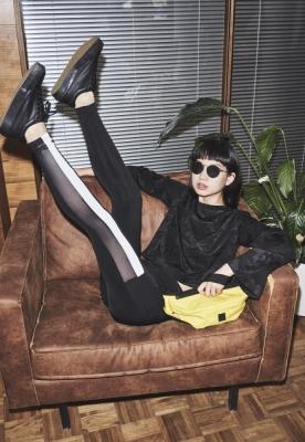 Colanti cu plasa cu dungi cu buzunar pentru Femei negru-alb Urban Classics