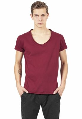 Tricou casual fitted cu decolteu in V rosu burgundy Urban Classics
