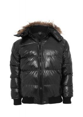 Geaca cu gluga Bubble Fur negru Urban Classics
