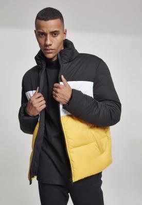 Geaca matlasata trei culori Boxy negru-galben Urban Classics chrome alb