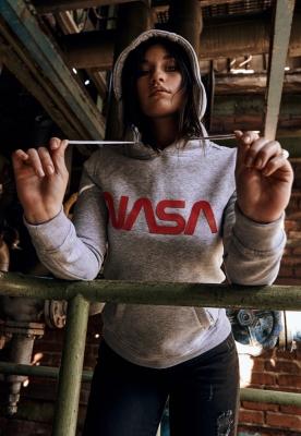 Hanorac NASA Worm Logo pentru Femei gri deschis