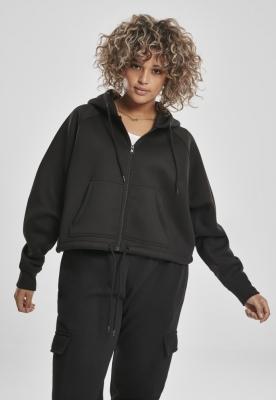 Hanorac scurt oversize cu fermoar pentru Femei negru Urban Classics