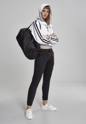 Hanorac Short cu siret pentru Femei alb-negru Urban Classics