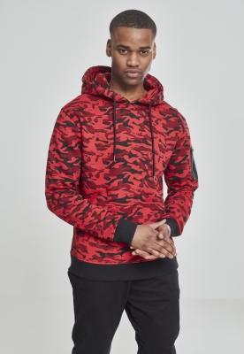 Hanorac sport cu imprimeu camuflaj si gluga rosu-camuflaj Urban Classics
