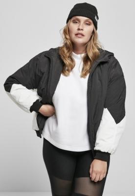 Jacheta cu captuseala doua culori maneci largi pentru Femei negru-alb Urban Classics
