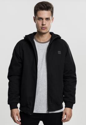 Jacheta cu Fermoar cu gluga bumbac negru Urban Classics