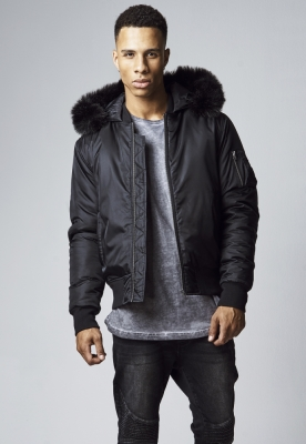 Jacheta cu gluga Basic Bomber negru Urban Classics