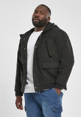 Jacheta cu gluga bumbac negru Urban Classics